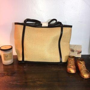 NEW Maxx NY Straw & Leather Tote